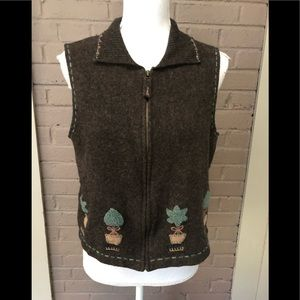 WOOLRICH  brown lambswool topiary vest M